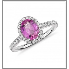 Pink Sapphire and Diamond Halo Gemstone Ring
